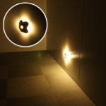 「今日の上海問屋」「電池式 人感センサーLEDライト(電球色)」センサーで光るならいろんなシーンで使えそうですよ、これ